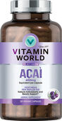 Bottle of Vitamin World's premium Platinum acai berry 4000 mg supplement vegetarian capsules to protect your skin and support healthy aging. 120 capsules