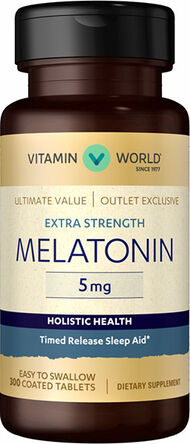 Vitamin World Extra Strength Melatonin Time Release Sleep Aid 5000 IU 500 Softgels