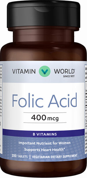 Vitamin World Folic Acid 400 mcg. 250 Tablets