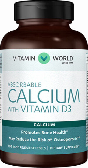 Vitamin World Absorbable Calcium with Vitamin D3 100 Softgels