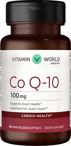 Vitamin World Co Q-10 100 mg. 60 Softgels 100mg.