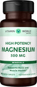Vitamin World Magnesium Oxide 500 mg. 100 Caplets