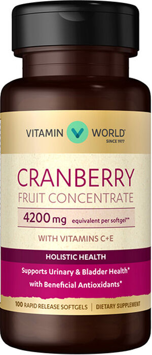 Vitamin World Cranberry Fruit Concentrate with C + E 4200 mg. 100 Softgels