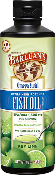 Barlean's Ultra High Potency Omega Swirl Fish Oil Key Lime 16 oz. Liquid 1870mg.