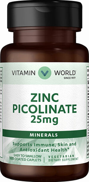 Vitamin World Zinc Picolinate 25mg. 100 Caplets