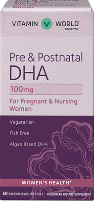 Vitamin World Pre & Postnatal Multivitamins with DHA 100 mg. 60 Softgels