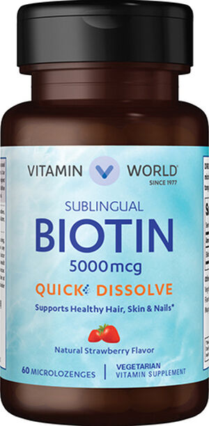 Vitamin World Biotin 5,000 mcg. Quick Dissolve Sublingual 5000 mcg. 60 Microlozenges Strawberry