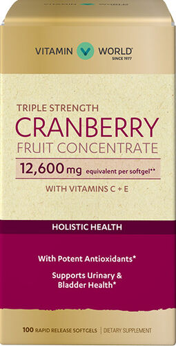 Vitamin World Triple Strength Cranberry Fruit Concentrate 12600mg 100 softgels
