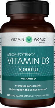 Vitamin World Vitamin D3 5000IU 200 Softgels 5000IU