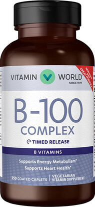 Vitamin World B-100® (Vitamin B Complex) Timed Release Vitamins 100 mg. 250 Caplets 100mg