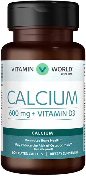 Vitamin World Calcium 600 mg + Vitamin D3 60 Caplets 600mg