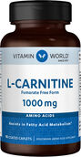 Vitamin World L-Carnitine 1000 mg. 90 caplets Fumarate Free Form