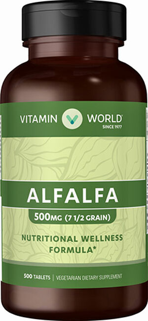 Vitamin World Alfalfa 500 mg. 500 Tablets
