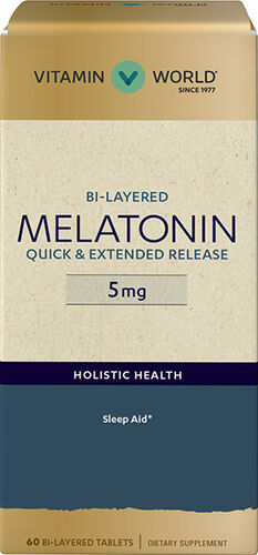 Vitamin World Bi-Layered Melatonin 5 mg.
