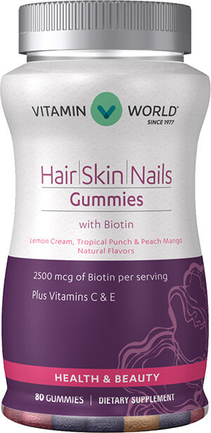 Vitamin World Hair, Skin, Nails Gummies 2500 mcg. 80 Gummies Strawberry