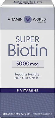 Vitamin World Super Biotin 5000mcg 60 Capsules 5000mcg.
