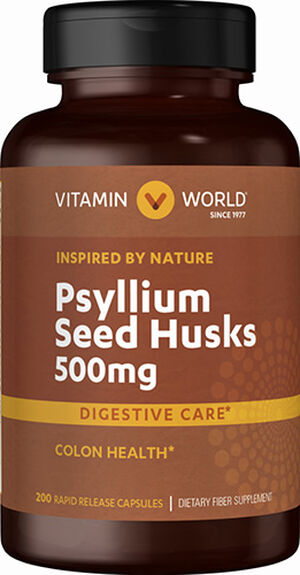 Vitamin World Psyllium Husks 500 mg. 200 Capsules