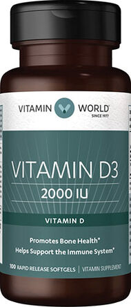 Vitamin World Vitamin D3 2000 IU 100 Softgels