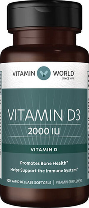 Vitamin World Vitamin D3 2000 IU 100 Softgels 2000IU