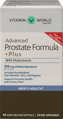 Vitamin World Advanced Prostate Formula +Plus with Phytosterols Saw Palmetto 90 Softgels