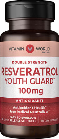 Vitamin World Double Strength Resveratrol 100 mg. 60 Softgels
