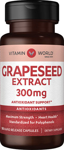 Vitamin World Grapeseed Extract 300 mg. 100 Rapid Release Capsules