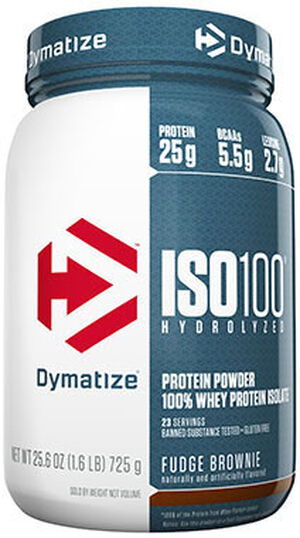 Dymatize ISO-100® Whey Protein Isolate Fudge Brownie 1.6 lbs. 1.6 lbs. Powder