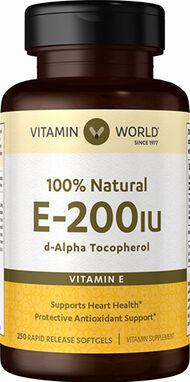 Vitamin World Vitamin E 200 IU 100% Natural 250 Softgels