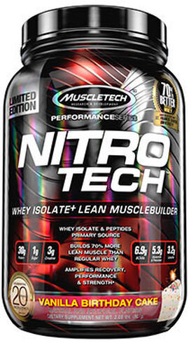 Nitro Tech™ Whey Isolate+ Vanilla Birthday Cake 2 lbs.