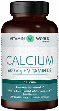 Vitamin World Calcium 600 mg + Vitamin D3 250 Caplets 600mg