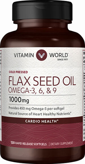 Vitamin World Flax Seed Oil 1,000mg 120 Softgels 1000mg.