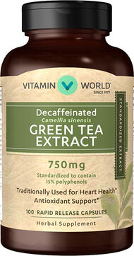 Vitamin World Decaffeinated Super Strength Green Tea Extract 750 mg. 100 Capsules