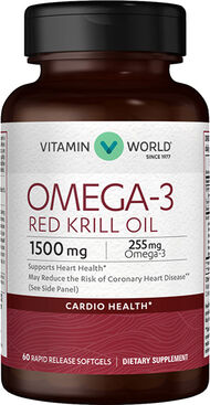 Vitamin World Omega-3 Red Krill Oil 1500 mg. 60 Softgels