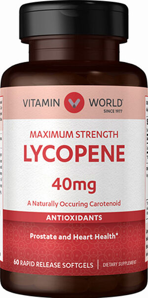 Vitamin World Maximum Strength Lycopene 40 mg. 60 Softgels