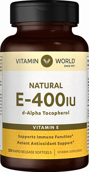 Vitamin World Natural Vitamin E 400IU 250 Softgels 400IU