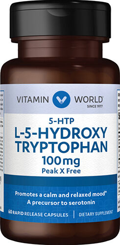 Vitamin World 5-HTP 100 mg. 60 Capsules 100mg.