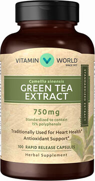 Vitamin World Super Strength Green Tea Extract 750 mg. 100 Capsules