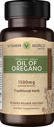 Vitamin World Oil of Oregano 1500 mg. 90 Softgels