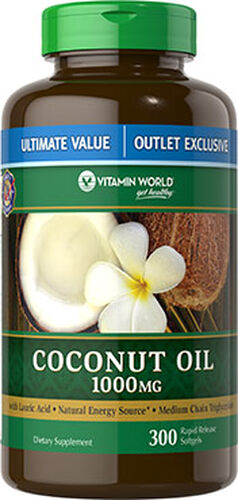 Vitamin World Coconut Oil 1000mg Value Size 300 Softgels 1000mg.
