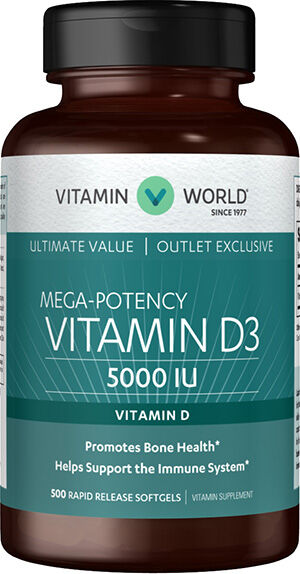 Vitamin World Vitamin D3 5000IU Value Size 500 Softgels 5000IU