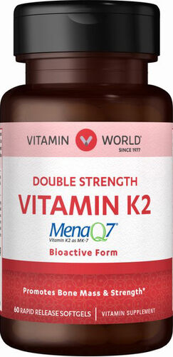 Vitamin World Double Strength Vitamin K2 60 Softgels 100mcg.