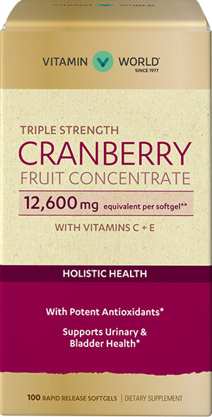 Vitamin World Triple Strength Cranberry Fruit Concentrate 12600mg 100 Softgels 12600mg