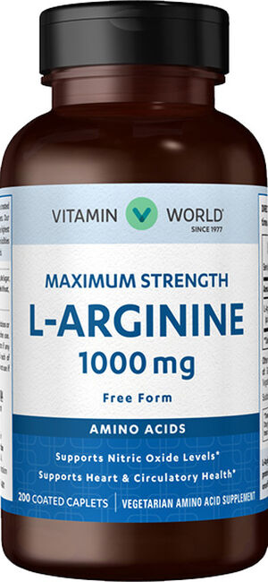 Vitamin World Maximum Strength L-Arginine 1,000mg. 200 Caplets 1000mg