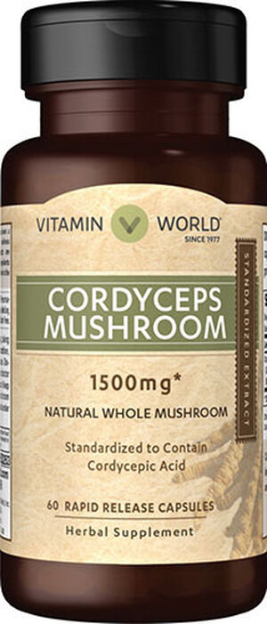 Vitamin World Cordyceps 750mg 1500 mg. 60 Capsules