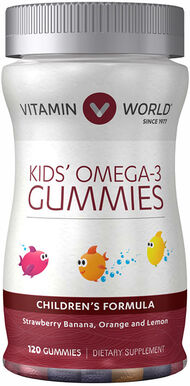 Vitamin World Kids' Omega-3 Gummies with Vitamin D3 120 Gummies Strawberry Banana, Orange, Lemon