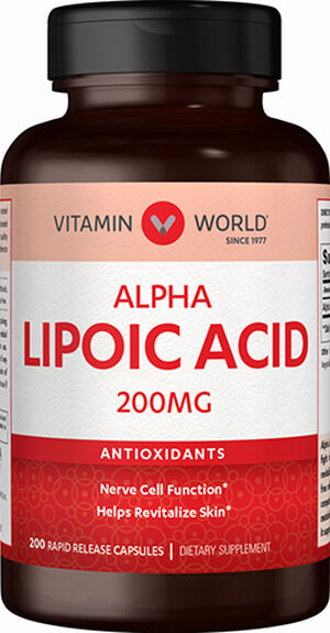 Vitamin World Alpha Lipoic Acid 200 mg. 200 Capsules
