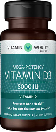 Vitamin World Vitamin D3 5000 IU 100 Softgels
