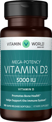 Vitamin World Vitamin D3 5000 IU 100 Softgels 5000IU