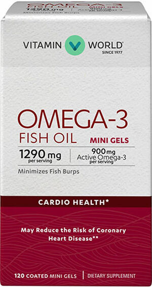 Vitamin World Omega-3 Fish Oil Premium Coated Mini Gels 900mg 120 Softgels 900mg.