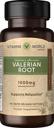Vitamin World Valerian Root Extract 1000 mg. 90 Softgels Valerian Root extract